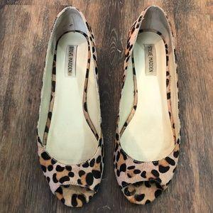 Steve Madden Leopard Calf Hair Peeptoe Flats!